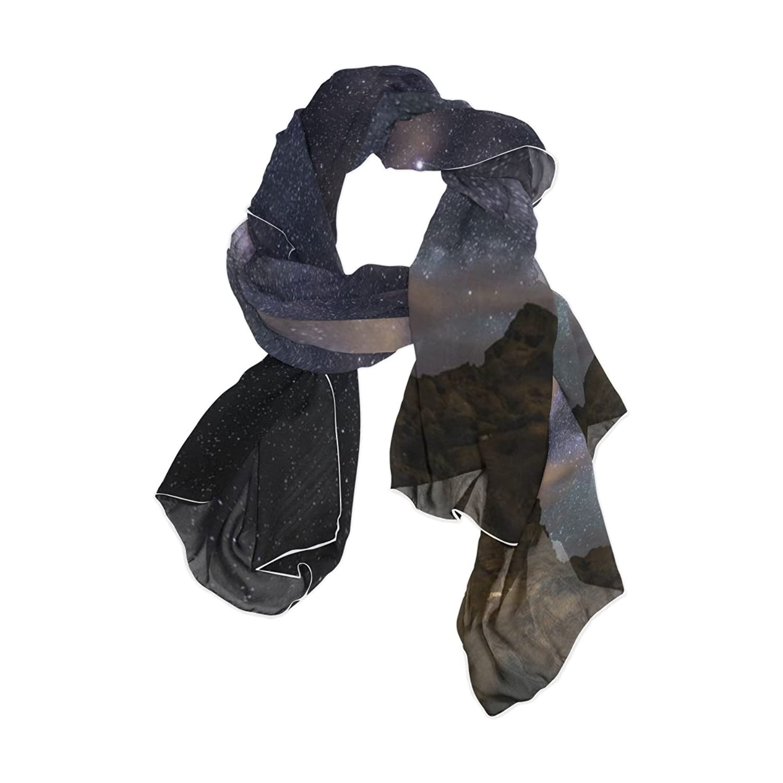 JSTEL Women Elegant Fashion Soft Large Silk chiffon Scarf with Star Space Pattern E88