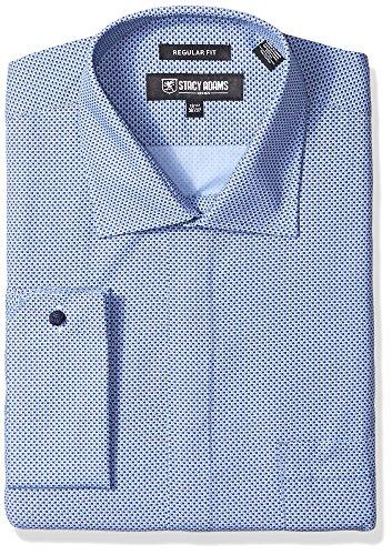 STACY ADAMS Mens Big and Tall Big & Tall Dot Print Classic Fit Dress Shirt