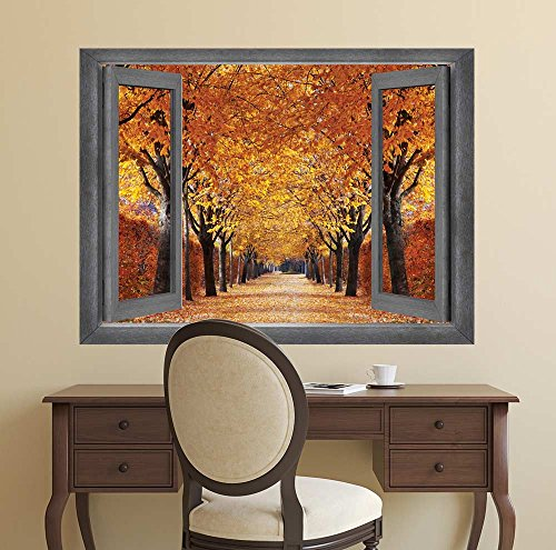 Open Window Creative Wall Decor A Row of Gorgeous Orange Leafed Trees Wall Mural