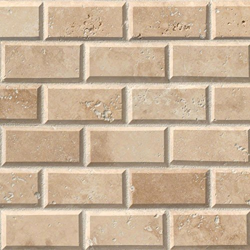 M S International Tuscany Ivory 12 In. X 12 In. X 10mm Honed Beveled Travertine Mesh-Mounted Mosaic Tile, (10 sq. ft, 10 pieces per case) - Ivory Wall Tile