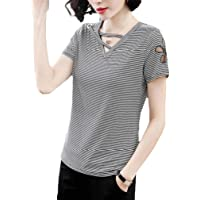 Fashring Women's Short Sleeve Cut Out Slim Fit Summer Tee Top Blouse