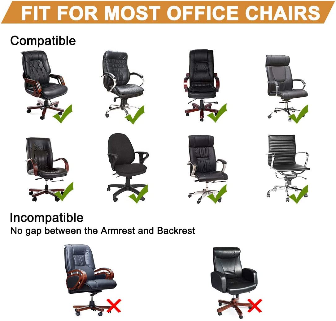 PiccoCasa Durable Stretch Waterproof Office Chair Cover Elegant Wave Jacquard Pattern High Back Computer Chair Slipcovers for Universal Rotating Boss Chair with Armrest Medium Size Black