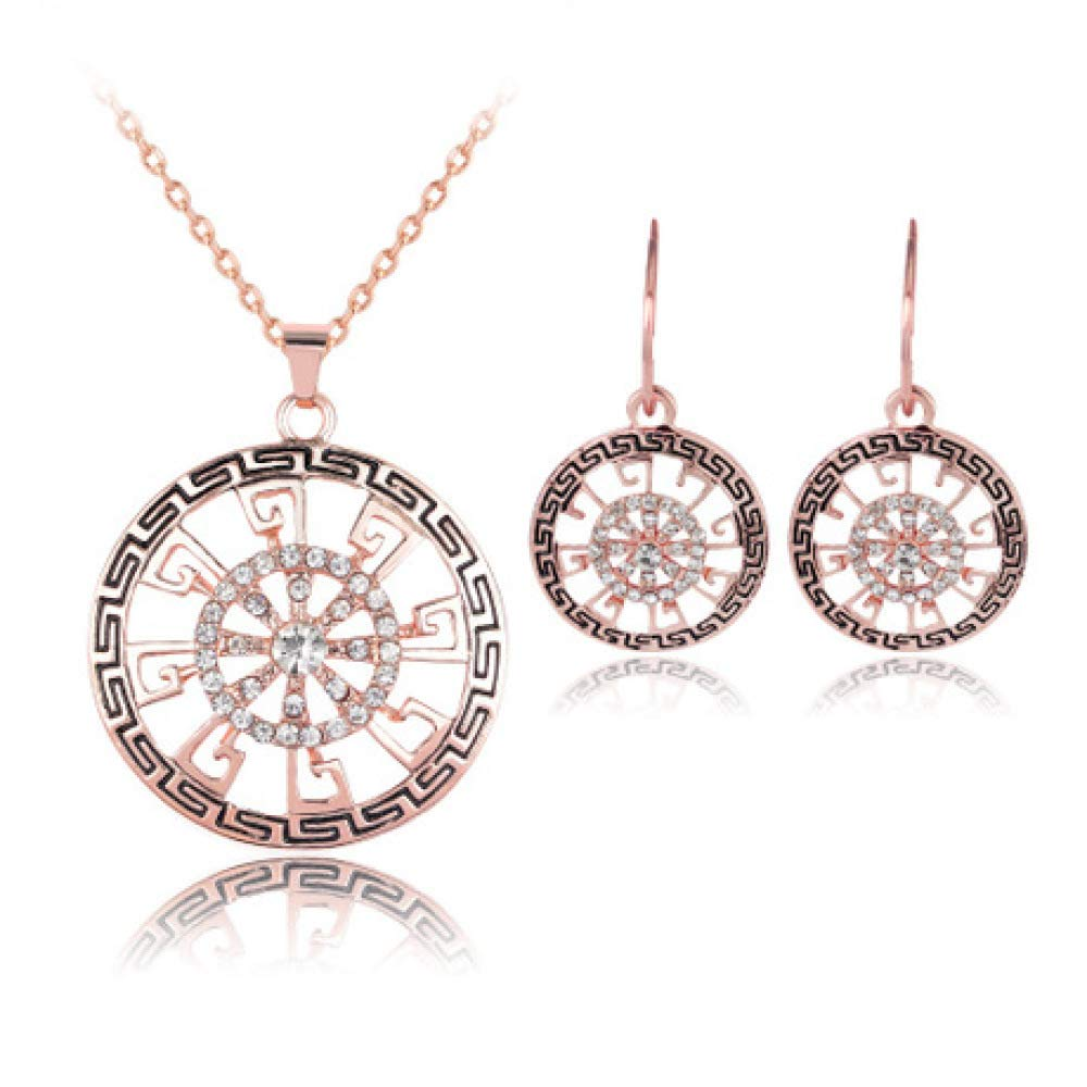 Women Necklace Pendant,Rose Gold and Diamond Necklace Earrings Two-Piece Womens Alloy Jewelry Suit for All Occasions MYYQ