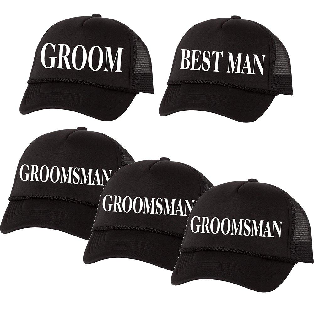 ea8d2bf0 Amazon.com: Groom, Best Man, Groomsman Trucker Bachelor Party Vegas Wedding  Baseball Hat Set of 5: Clothing