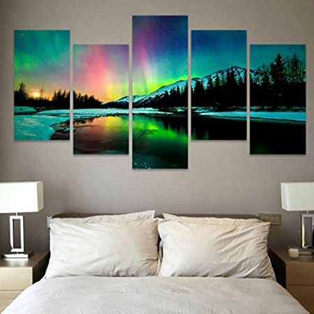 5Pcs Modular Canvas Art Scenery Landscape tree Painting HD Print Poster Wall Art