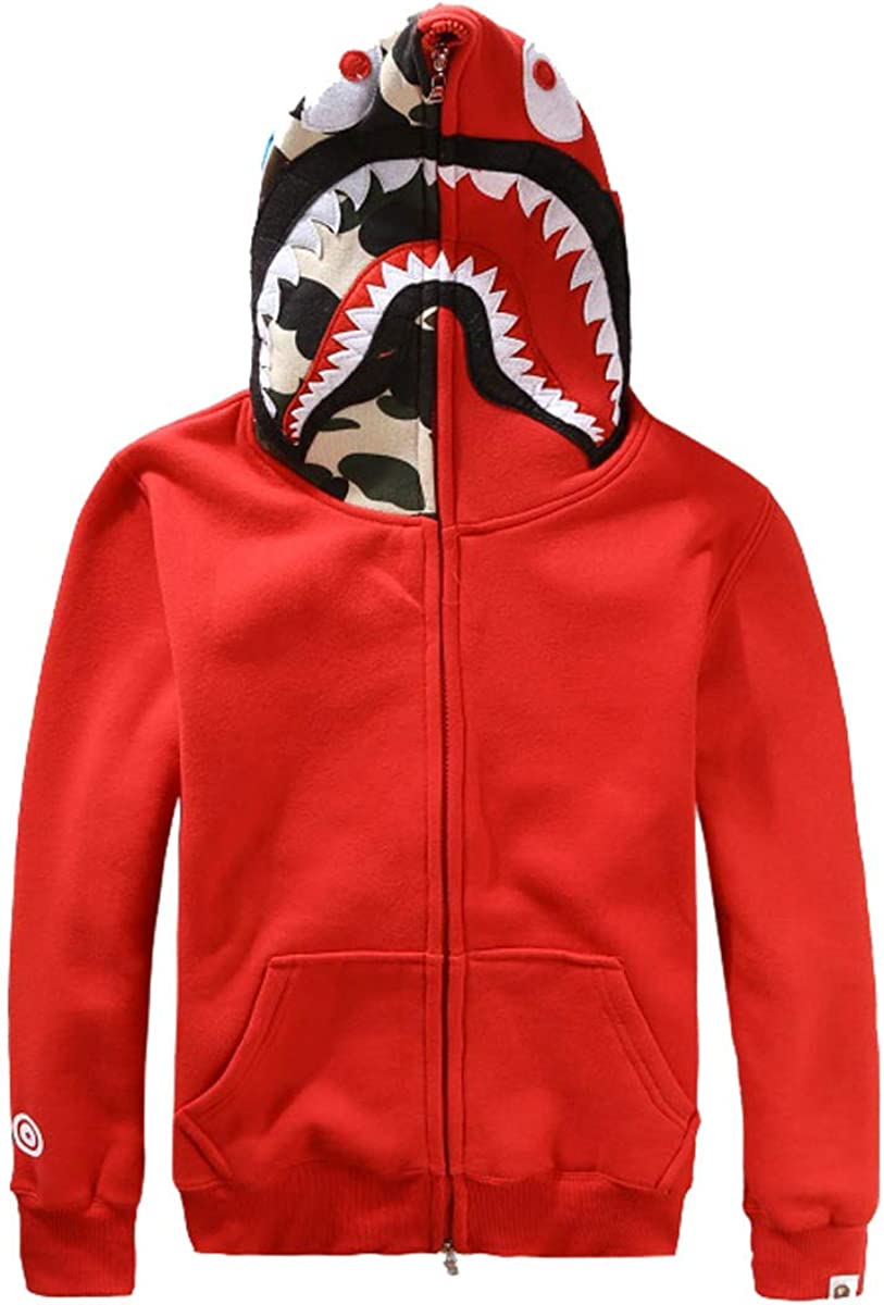 Fashion Unisex Bathing Ape Bape Jacket Men Shark Head Full Zip Hoodie Sweater Jacket