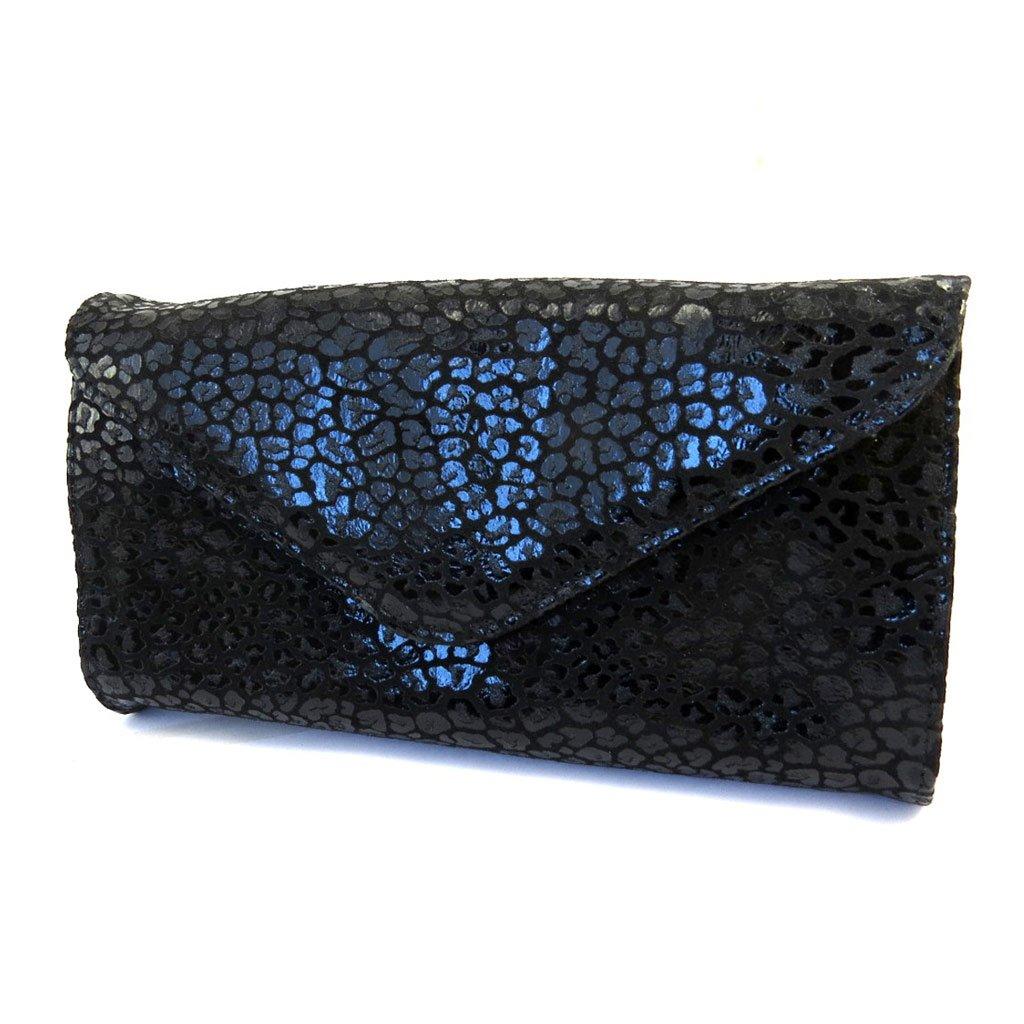 Leather pouch bag 'Frandi' black (2 bellows)leopard.
