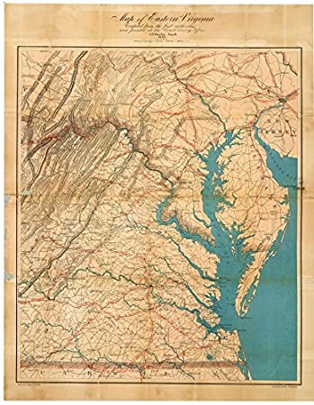 Amazoncom 1862 Old Historical Wall Map Virginia Chesapeake Bay