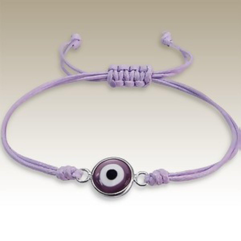 Handmade Friendship Bracelet, Evil Eye, Purple, 925 Sterling Silver (E13200)