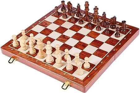 Bixialan Juego de Ajedrez Portátil Puzzle Juego de ajedrez-Tabla de Nogal Juegos de ajedrez de Madera Plegable del Tablero de ajedrez Gratuito de introducción Viajar Tutorial de la Familia Ajedrez