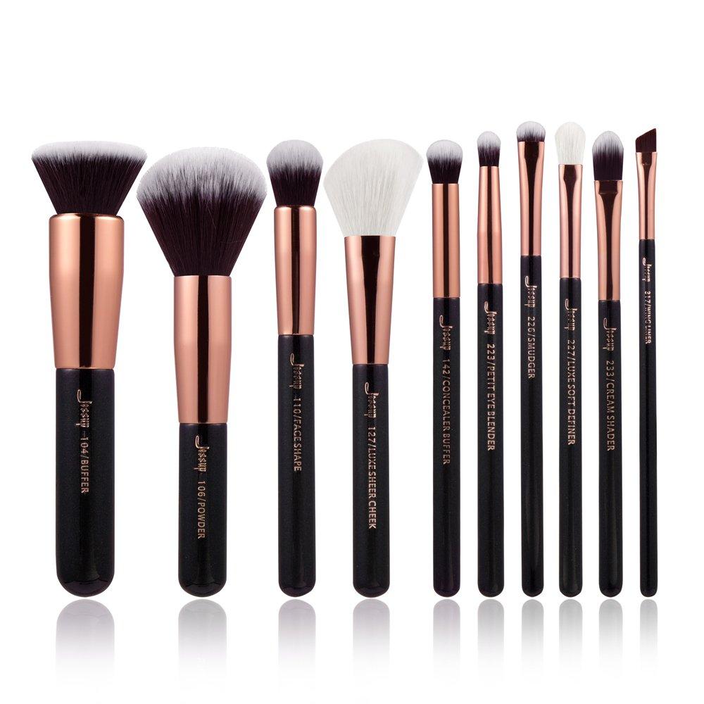 Jessup 10PCS Foundation Power beauty makeup brushes eyeliner correttore buffer Handmade Fiber Hair makeup Tool kit nero/oro rosa T156 Mankalun