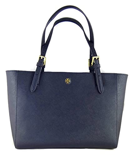 f20e64c4f3d7 Amazon.com  Tory Burch Blue Leather Saffiano York Buckle Tote Handbag  Shoes