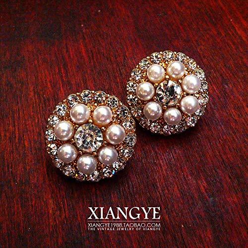 - Leaf Jeweled Brooch pin Corsage Vintage Pearl Diamond Earrings Earring Ear Dangler tic Western Antique Jewelry (d Full Diamond Pearl Earrings (1.8cm)