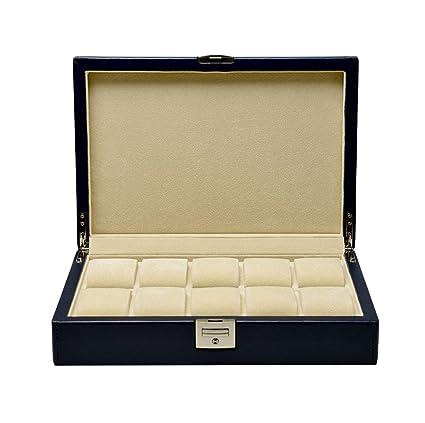 LIYANSNH Cajas para Relojes Joyas Caja de Almacenamiento Caja de exhibición Maletín de Cuero con Cerradura