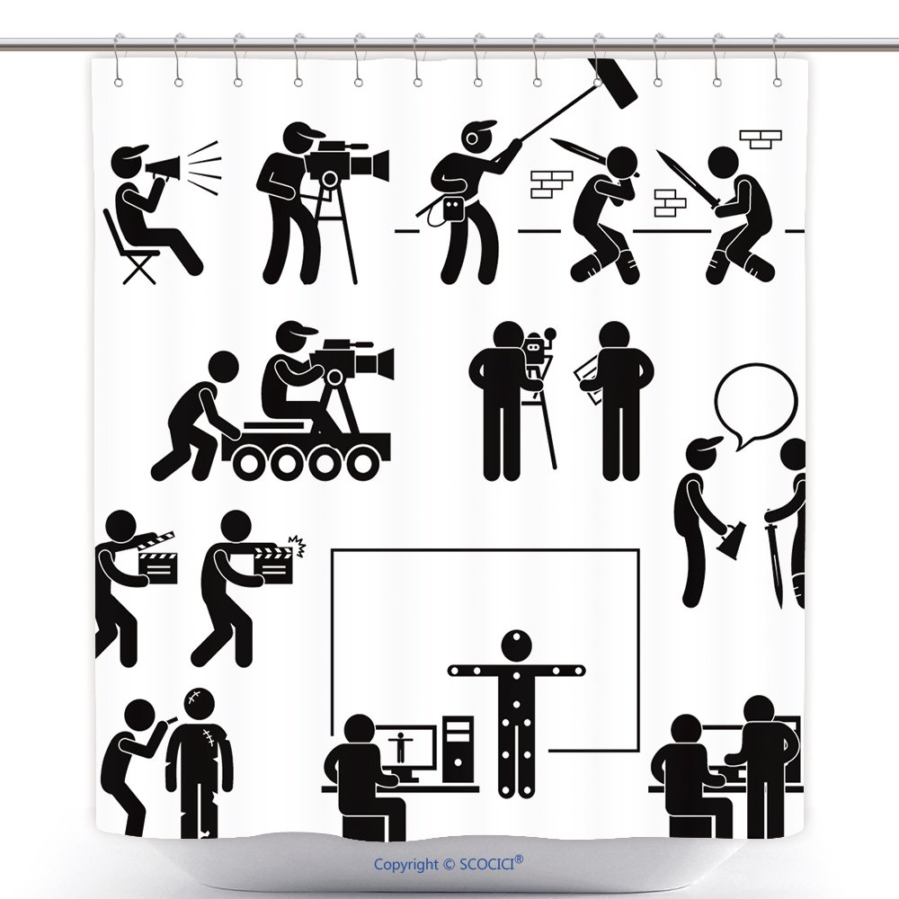 Durable Shower Curtains Director Making Filming Movie Production Actor Stick Figure Pictogram Icon Polyester Bathroom Shower Curtain Set With Hooks