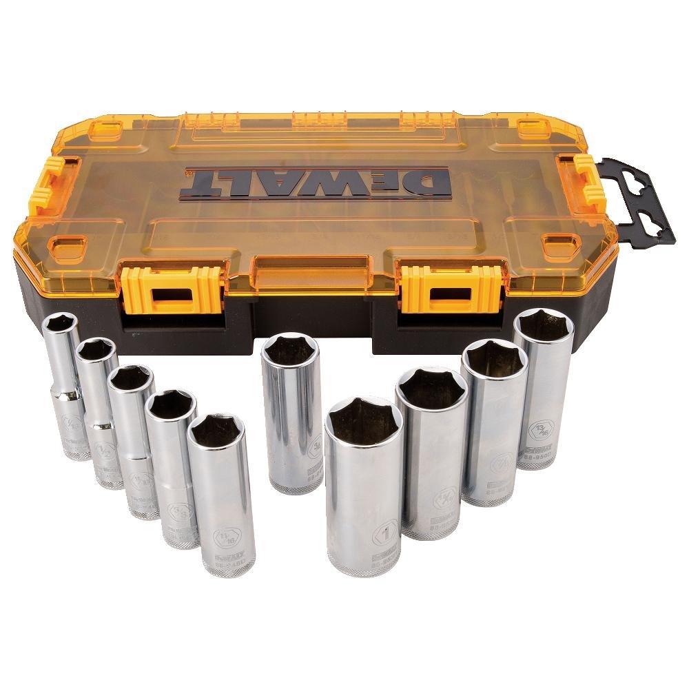 DEWALT DWMT73814 SAE Drive Deep Socket Set (10 Piece), 1/2''
