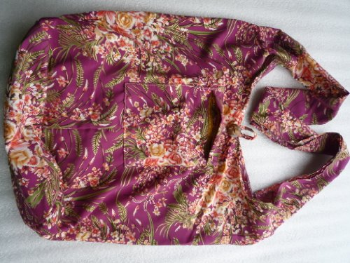 Handgefertigte Beuteltasche aus Baumwolle mit Blumenmuster, rot, 40 x 20 x 38 cm (l x b x h), Henkel: 110 cm