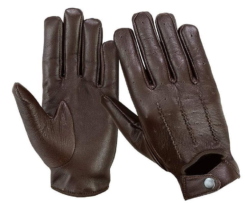 alla moda Guanti da guida da uomo per motocicletta guanti stile vintage LN101 in vera pelle morbida