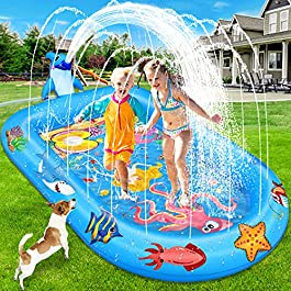 Baisoo Splash Pad Sprinkler Pool for Kids, Inflatable Swimming Wading Pool for Toddlers Boys Girls, Summer Outdoor Water Toys Fun Gifts for Children Ages 2 3 4 5 6 Years and Up