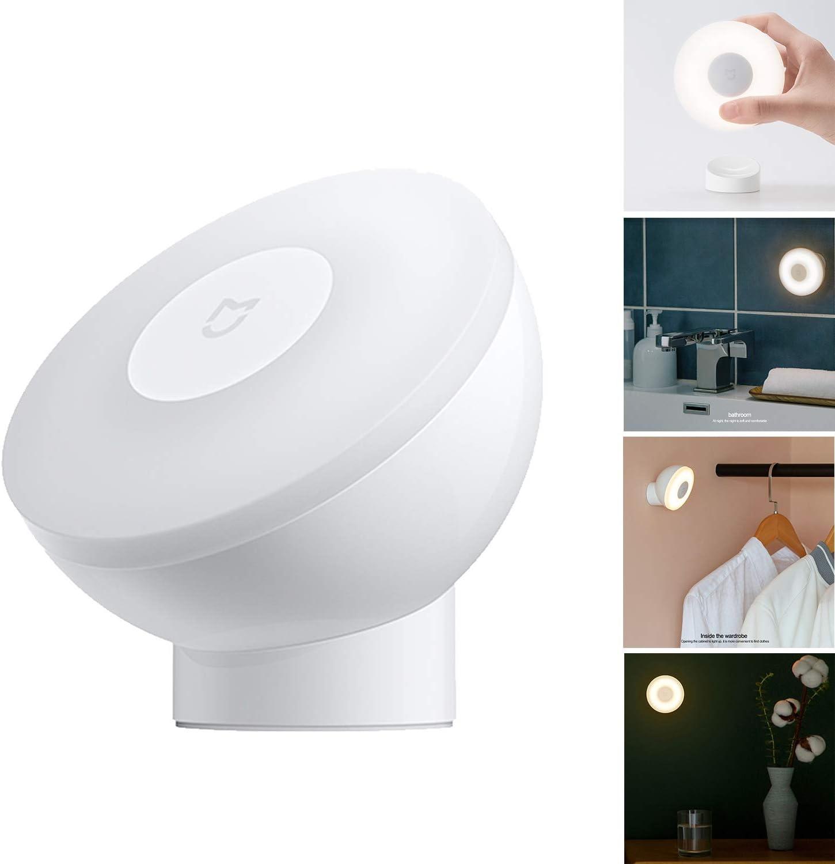 para Xiaomi Mijia luz Nocturna para inducción, luz Nocturna de 2ª generación, 360 Grados de rotación, Brillo Ajustable, Sensor de Movimiento por Infrarrojos, con Base magnética
