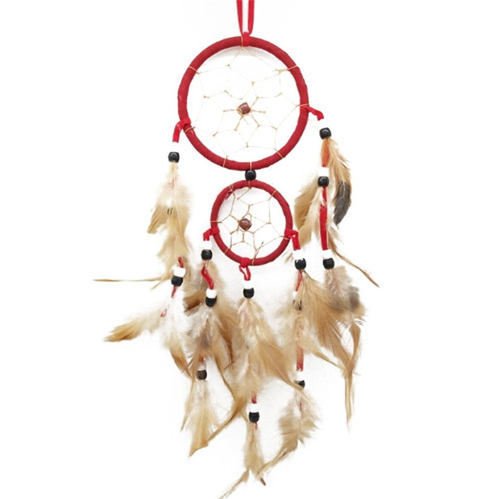 Gluckliy Dream Catcher Circular Net with Artificial Feathers Room Window Wall Hanging Decoration Ornament for Home Car Decor (Red) fangqiang