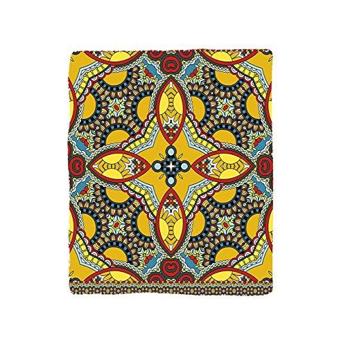 VROSELV Custom Blanket Oriental Middle Orient Eastern Indian Islamic Different Floral Swirl Detailed Image Artwork Bedroom Living Room Dorm Multicolor by VROSELV