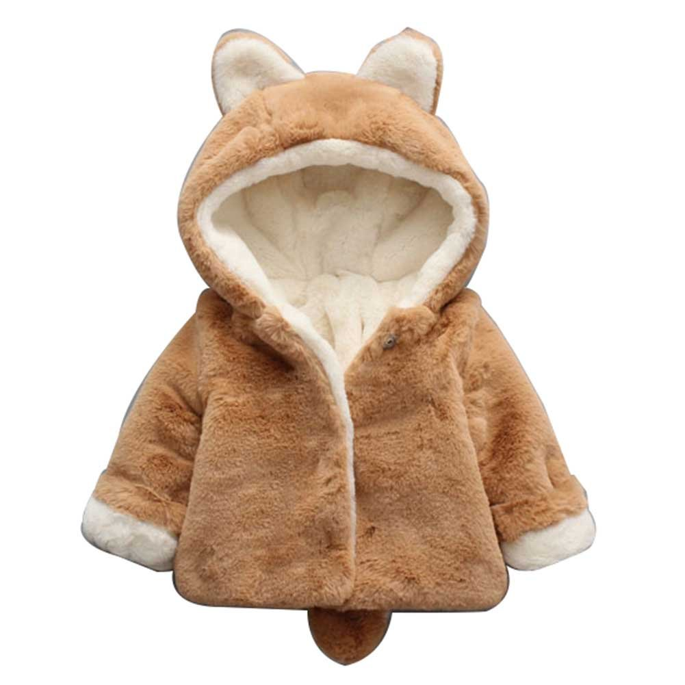 SLLSKY Toddler Girl's Hooded Jackets Cotton Fleece Cloak Hoodies Coats
