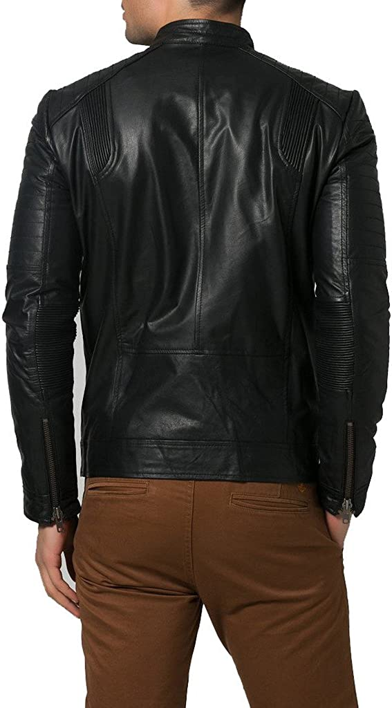 New Men Leather Jacket Black Soft Cowhide Motorcycle Bomber Party Jacket KC331