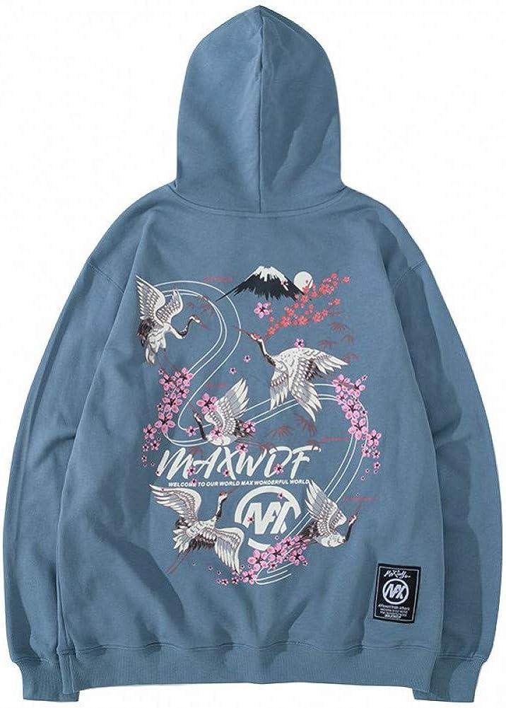 SONGHJ Herren Streetwear Hoodie Kranich Kirschblüten Print Pullover Herbst Baumwolle Lässig Blume Kapuze Sweatshirt Schwarz L