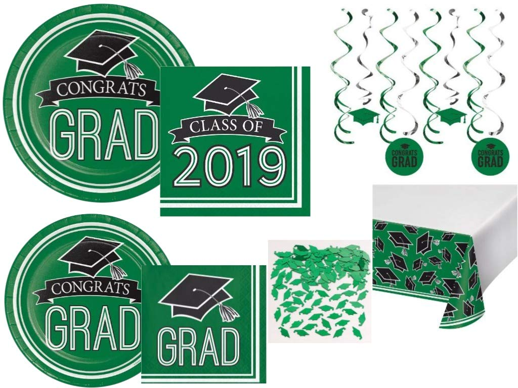 Class of 2019 Graduation School Spirit Green & Black Party Tableware & Decorations for 36 Guests