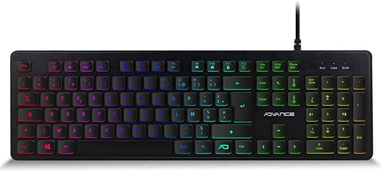 ADV - Teclado para Gamer, Ultra Plano, retroiluminado, RGB, Teclas silenciosas