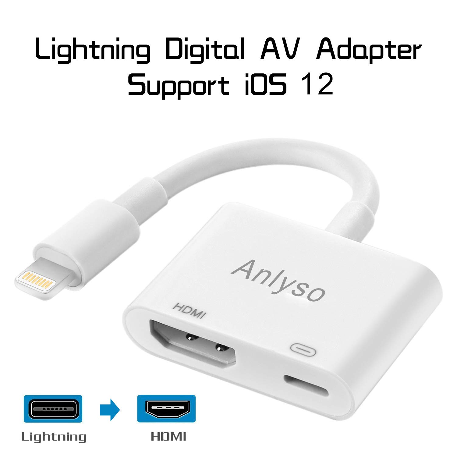 White Compatible with iPad iPhone to HDMI Adapter Cable Digital AV Adapter Anlyso Connector Support 1080P HDTV Converter Compatible with iPhone Xs MAX XR X 8 7 6Plus iPad to TV Projector Monitor