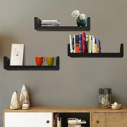 U Shape Floating Shelves Set Of 3 Wall Mount For Display Decorative Bookshelf