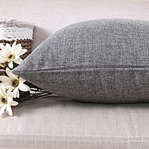 """HOME BRILLIANT Soft Solid Linen Euro Sham Throw Pillow Cover for Couch, 20""""x20"""", Dark Grey"""