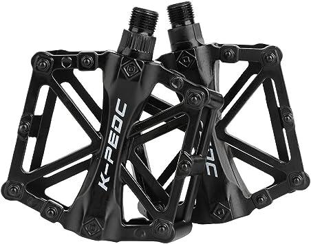 SPFAS Pedal Bicicleta Pedal de Bicicleta de Aluminio Ciclismo/Road Mountain Pedal Bicicleta de MTB/BMX Pedales rodamiento súper Plat Plateado Estable con Pedal Antideslizante para 9/16 Pulgadas: Amazon.es: Deportes y aire libre