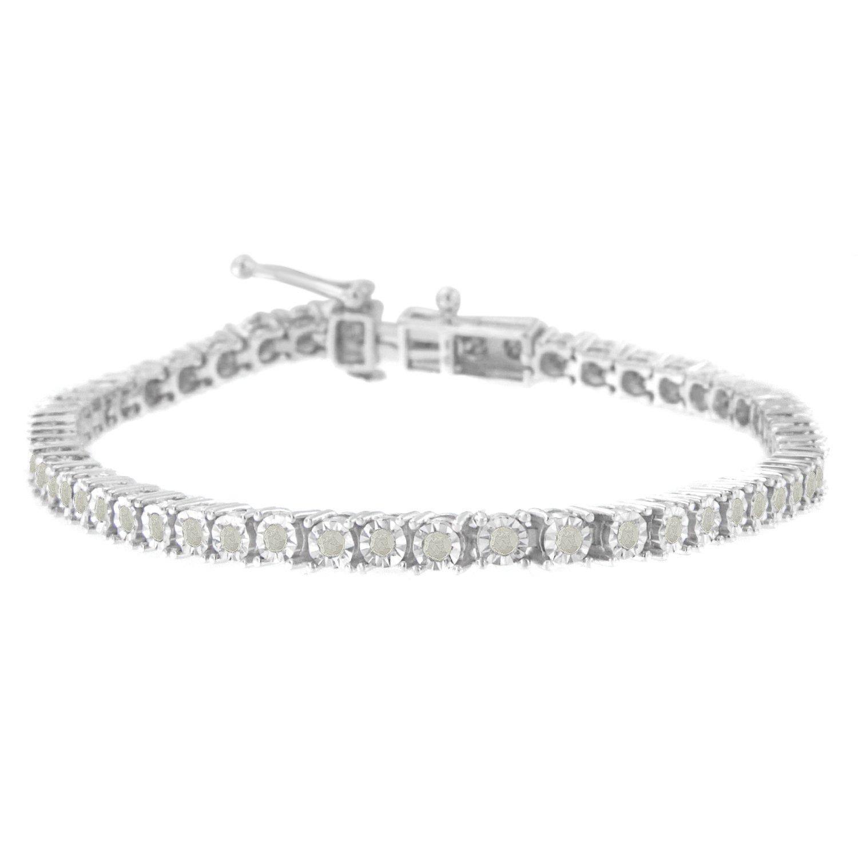 Sterling Silver Rose-Cut Diamond Tennis Bracelet (1 cttw, I-J Color, I3 Clarity)