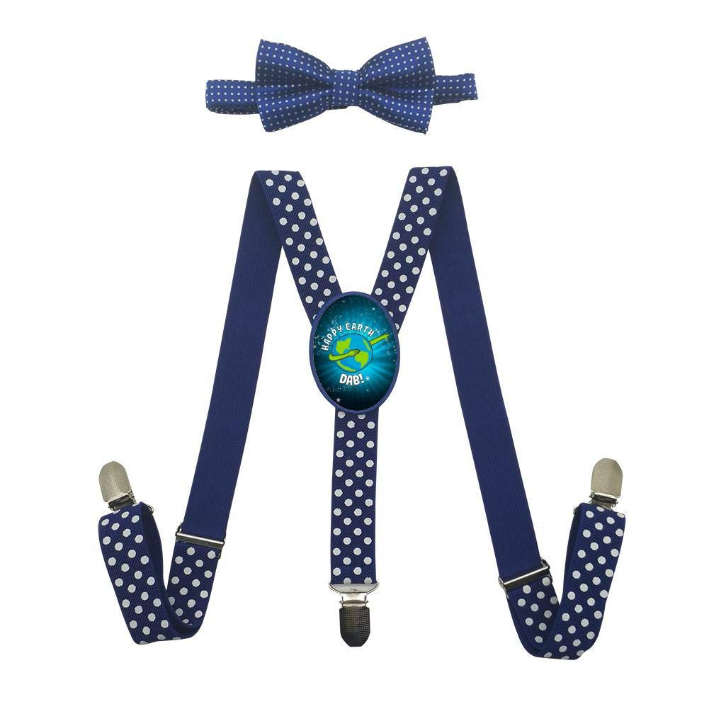 Dabbing Earth Unisex Kids Adjustable Y-Back Suspenders With Bowtie Set