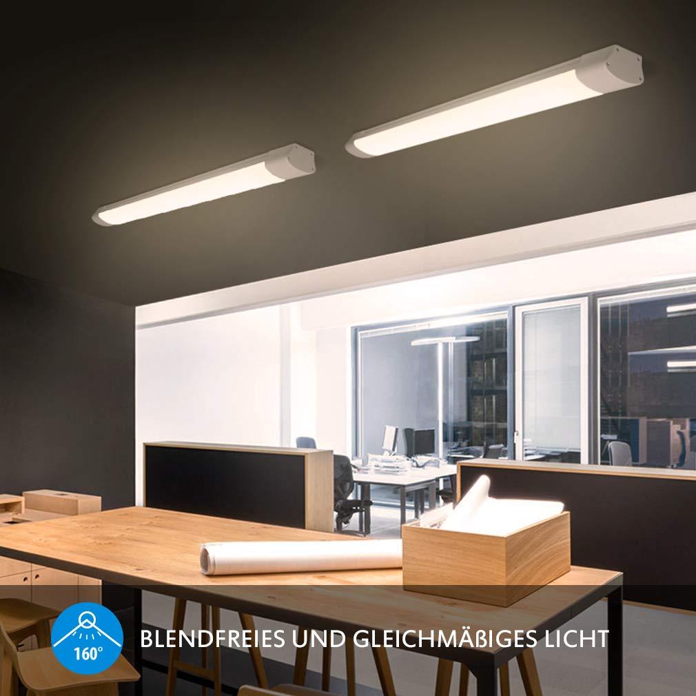 Ip65 Impermeable L/ámpara de techo de ba/ño 32W 2800LM LED Luz de techo para la F/ábrica Garaje Sot/áno Oficina Supermercado Balc/ón Cocina 4000K Oeegoo Tubos LED 120cm