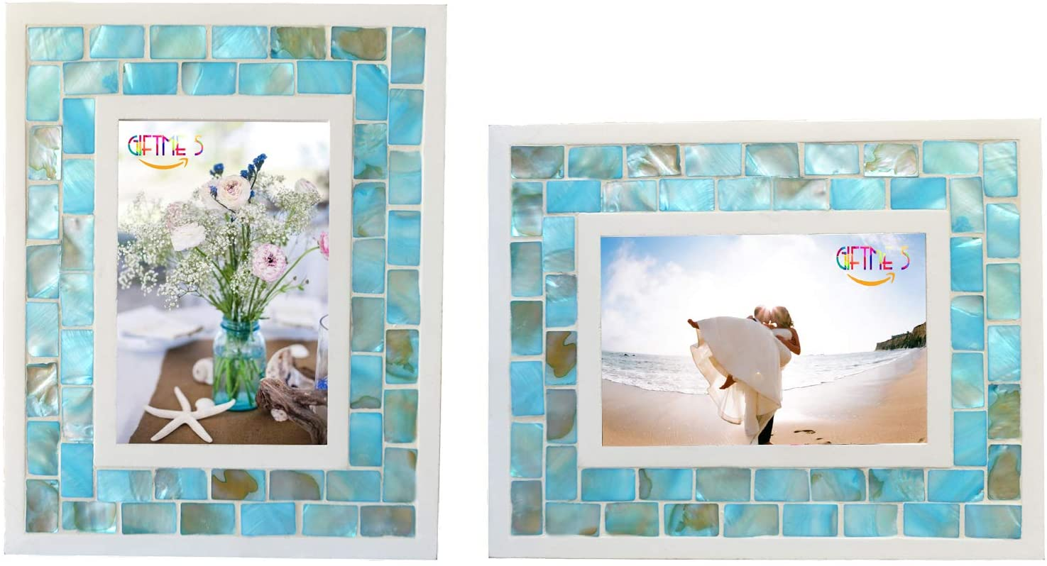 GIFTME 5 White Picture Frame 8x10 Wedding Picture Frame Mother of Pearl Photo Frames for Wall Hanging or Tabletop 8 by 10 inch Natural White