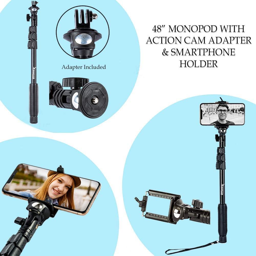 "DJI Osmo Mobile 3 Smartphone Gimbal with 48/"" Monopod and Pistol Grip Tabletop Tripod"
