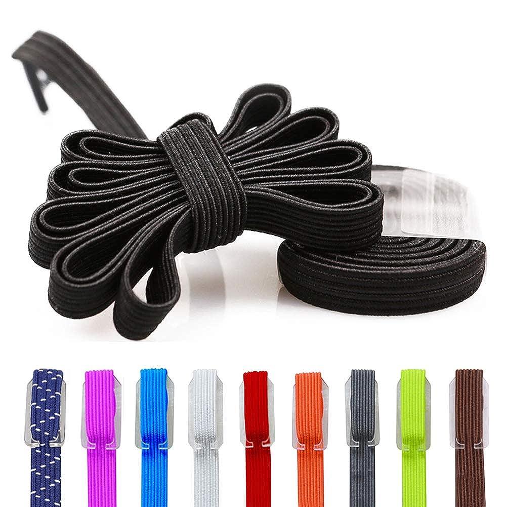 d1df7b343d9c Amazon.com: Elastic No Tie Shoe Laces, Replacement Shoelaces, Flat Elastic  Shoe Laces for Running, Athletic, Mens, Womens, Kids: Clothing