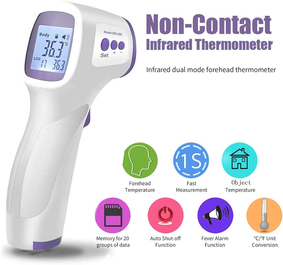 Decdeal Digital Forehead Thermometer Infrared Baby Thermometer Non-Contact Body Temperature Gauge for Baby with Fever Alarm English Version, Chinese Version Shipped Randomly