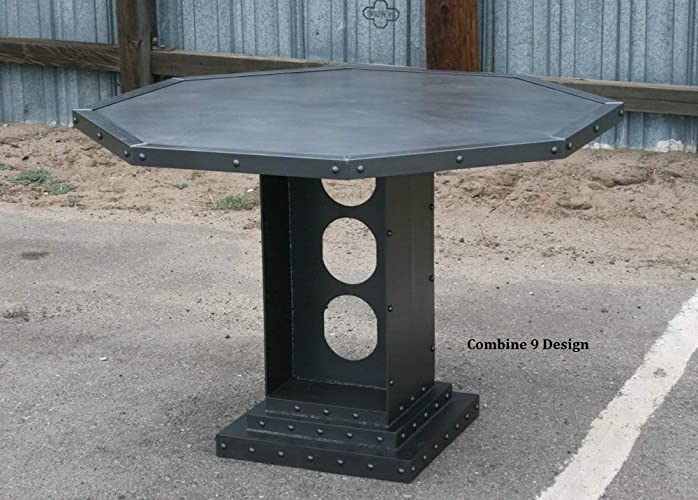 Amazon.com: French Industrial Poker Table. Steel Card Table ...