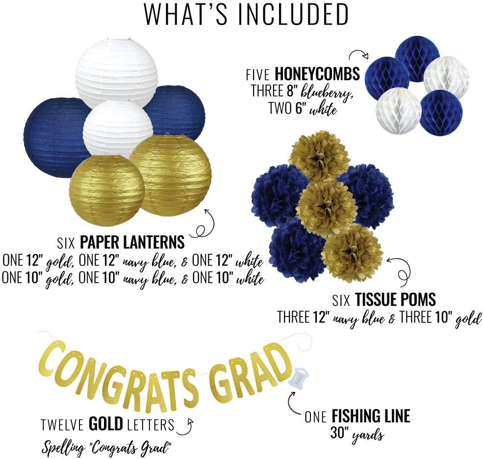 30pcs, Gold /& Blue Just Artifacts 30pcs Hanging Paper Lantern Decoration Kit for Graduations
