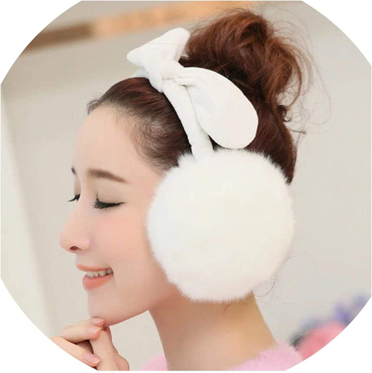Winter Earmuffs for Women Warm Faux Fur Covers Earlap Cute Rabbit Ear Cap