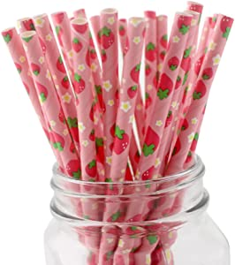 IPALMAY Fruit Patterned Drinking Paper Straws, Disposable Biodegradable, 7.75 Inches, Pack of 100,Strawberry