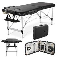 Yaheetech Alu Massageliege Klappbar Massagetisch Massagebett Massagestuhl mit 2 Zonen höhenverstellbar mit Tragetasche, belastbar bis 250kg schwarz