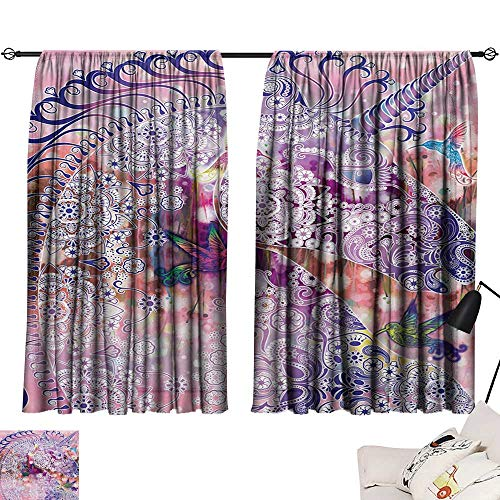 Shades Window Treatment Valances Curtains Unicorn,Magical Fantasy Animal with Floral Ornaments and Birds on Natural Pink Background,Pink Purple 54