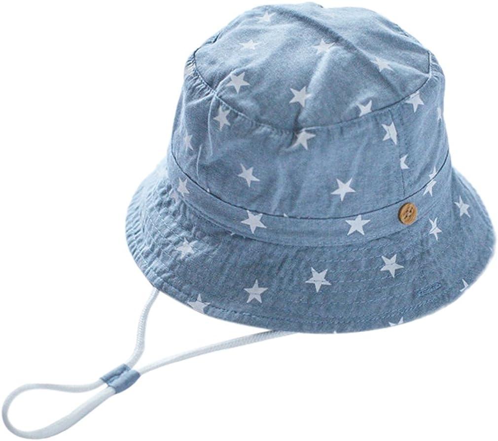 Biwinky Unisex Baby Denim Sun Hat Kids Stars Printing Fisherman Caps