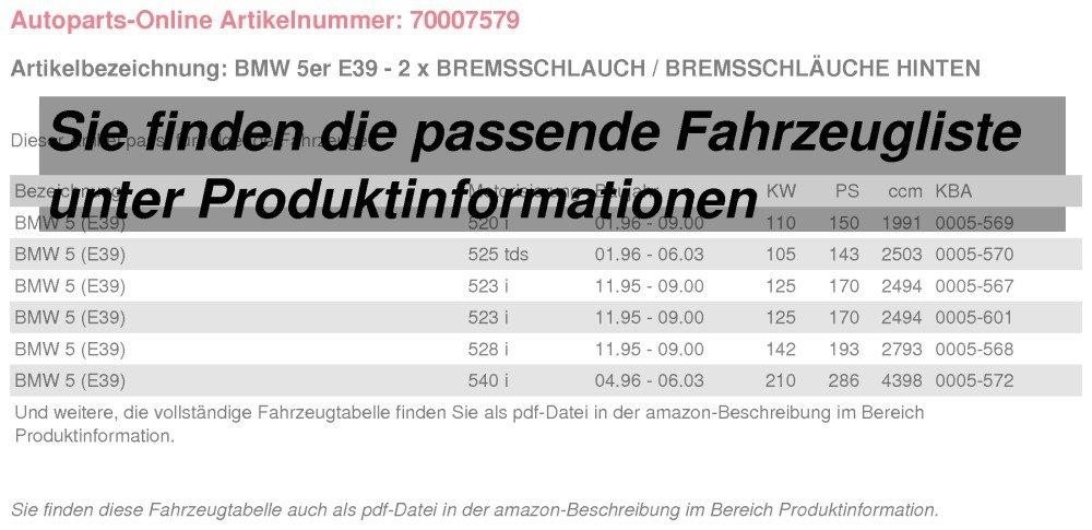 2 x Bremsschlauch//Bremsschl/äuche hinten